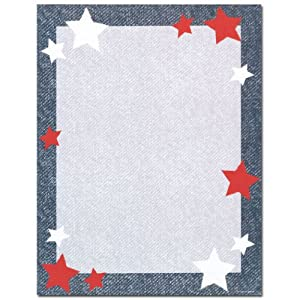 Star blue border kids themed computer printer for Themed printer paper