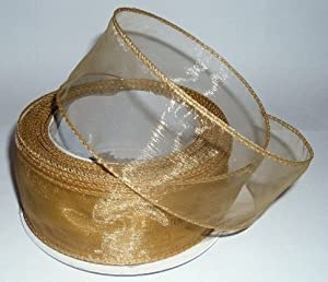 20m x 50mm chiffon organza wired ribbon **GOLD**