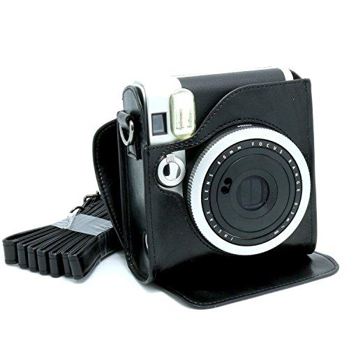 Gearmax® pour Fujifilm Instax Mini 90,(Noir)Cas avec sacs bandoulière caméra Voyage Sac / Vintage PU Cuir