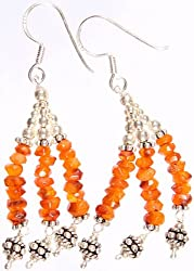 Exotic India Faceted Carnelian Shower Earrings - Sterling Silver
