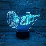 LE3D 3D Optical Illusion Desk Lamp/3D Optical Illusion Night Light, 7 Color LED 3D Lamp, Trumpet 3D LED For Kids and Adults, Musician's Trumpet Light Up