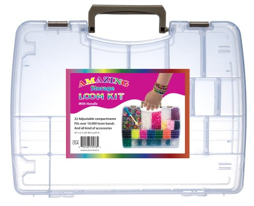Loom & Band Organizer and Travel Case with Handle- Fits Rainbow Loom Base or Cra-z-loom, and Over 7,500 Rubber Bands, Charms and Replacement Picks- Clear Plastic Storage Boxes Join Together to Double Capacity-crazy Fun! (Made in Usa!)