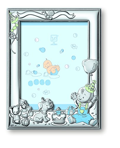 "Silver Touch USA Sterling Silver Boy Celebration Picture Frame with Booklet, Blue, 5"" x 7"""