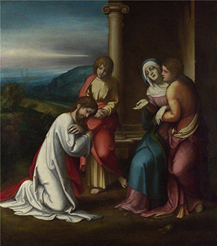 High Quality Polyster Canvas ,the Beautiful Art Decorative Canvas Prints Of Oil Painting 'Correggio Christ Taking Leave Of His Mother ', 18 X 20 Inch / 46 X 52 Cm Is Best For Bedroom Artwork And Home Decoration And Gifts
