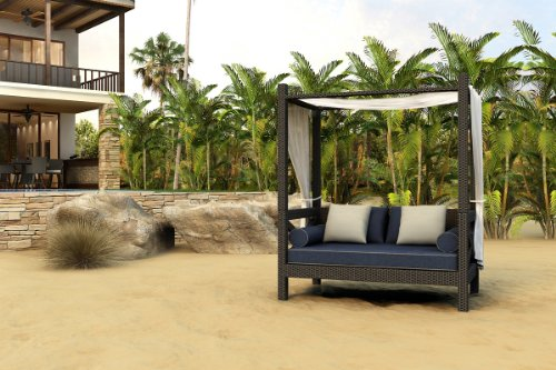 Forever Patio Hampton Modern Outdoor Wicker Canopy Day Lounger With Blue Sunbrella Cushions (Sku Fp-Ham-Cpl-Ch-Si)
