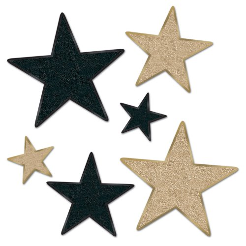 Beistle 57857-BKGD 6 Count Assorted Glittered Star Cutout, Black and Gold