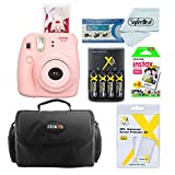 Fujifilm Instax Mini 8 Instant Film Camera (Pink) With Fujifilm Instax Mini Instant Film Twin Pack (20 Sheets) + Compact Bag Case + Batteries & Battery Charger