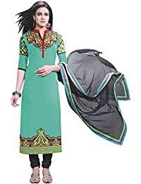 Exotic India Peacock-Green Choodidaar Kameez Suit With Embroidered Paisl - Green