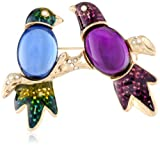 "Napier ""Giftable"" Gold-Tone and Multi Love Birds Pin"