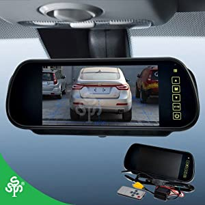 7 Inch 16:9 TFT LCD Widescreen Car Rearview Monitor Mirror with Touch Button, 480(W)x 234(H) Screen Resolution, Car /Automobile Rear View Mirror Display Monitor Support Two Ways Of Video Output, V1/V2 Selecting from THREESEASONS