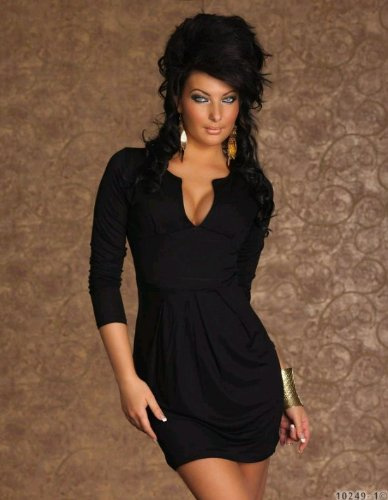 sexy langarm kleid minikleid damen kleid aus stretch. Black Bedroom Furniture Sets. Home Design Ideas