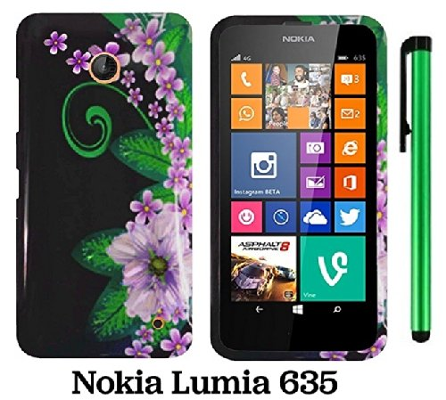 Nokia Lumia 635 (Us Carrier: T-Mobile, Metropcs, And At&T) Premium Pretty Design Protector Cover Case + 1 Of New Assorted Color Metal Stylus Touch Screen Pen (Black Green Pink Flower)