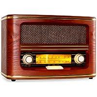 """Auna """"Belle Epoque"""" Retro-Radio Nostalgieradio (Radio mit Dual-Tuner UKW und MW Frequenzskala, Holzgeh�use, edlen beleuchteten Bedienelementen) Braun"""