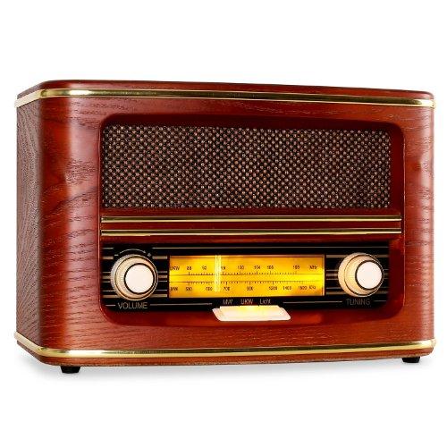 Tragbares Stereo Radio mit AUX IN und Kopfhöreranschluss Küchenradio Retro Nostalgie Design (Rot)