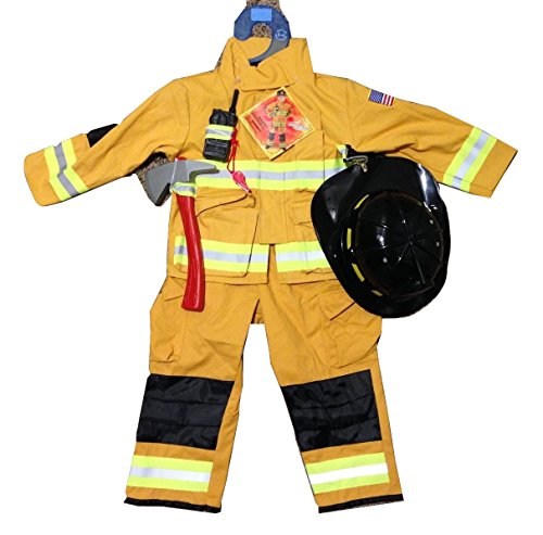 Teetot Authentic Boys Fireman Halloween Costume Firefighter Size 5-6 TAN