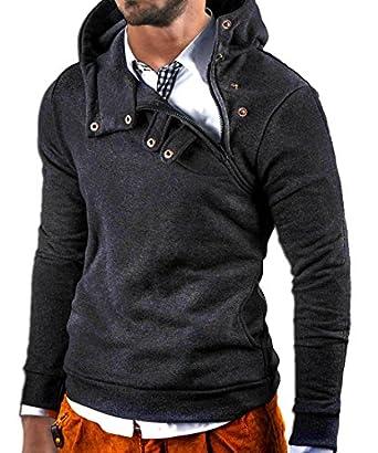 MT Styles Kapuzenpullover Hoher Kragen Pullover Hoodie S-135 [Dunkelgrau, S]