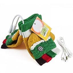 USB Warm Gloves Oenbopo Women\'s PC Laptop USB Heated Half & Full Finger Winter Warm Hand Gloves Warmer Wool (GS52)