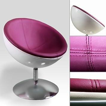 RETRO SCHALEN SESSEL 70er design stuhl lounge möbel C13 weiss-pflaume