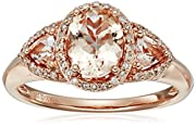 10k Rose Gold Morganite and Diamond Ring (1/6 cttw, H-I Color, I2-I3 Clarity), Size 7