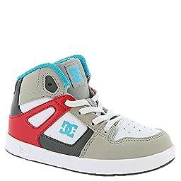 DC Rebound UL High Top Skate Shoe (Toddler), Grey/Red/White, 7 M US Toddler