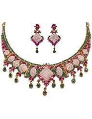 Handmade Pearl Emerald & Ruby Color Stone Studded Traditional Necklace Set