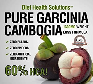 Pure Garcinia Cambogia ~ 1300mg Per Serving with 60% HCA ~ 120 capsules ~ One Month Supply ~ Double Strength from Diet Health Solutions