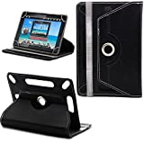 New TAN Design Universal Leather 360 degree Rotating Stand Case Cover For Kindle Fire HD 7-inch Tablet PC - Plain Black ( Designer Folio Android Colourful Luxury Protective 7' Tab Flip Skin ) by Gadget Giant®