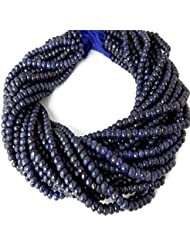 """Sumit 1 Strand Dyed Blue Sapphire Corundum 5mm Rondelle Faceted Beads,Micro Faceted Beads,Handmade Beads,13.5""""..."""