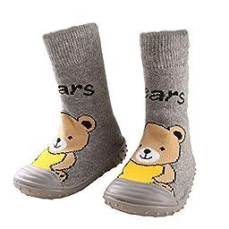 BW Non-Skit Winter Rubber Sole Slipper Socks For Baby Girl Boy Infant Toddler Newborn Grey Bear US 5.5