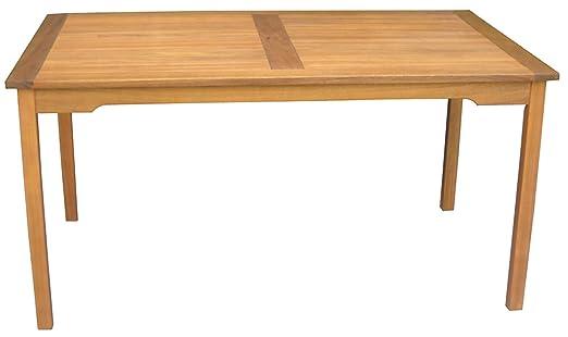 Table rectangulaire de jardin en bois exotique - Dim : 150 x 90 cm -PEGANE-