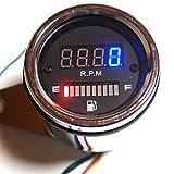 バイク 汎用 12 V 4 スト デジタル スピード タコ メーター 燃料 計 昼 夜 間 でも 見やすい ブルー レッド