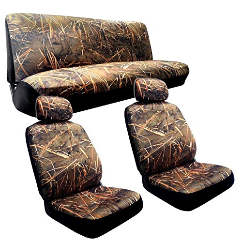 Muddy Water - Camo Seat Covers - 2 Front Seats - Rear Bench - Duck Hunting Camouflage (Camouflage Truck Seat Covers compare prices)