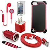 Apple iTouch 5 iPod Touch 5th Gen Red Ultra Protection Dual Layer Case, USB Car Charger Plug, USB Home Charger Plug, USB 2.0 Data Cable, Metallic Stylus Pen, Stereo Headset & Screen Protector (7 Items) Retail Value: $89.95