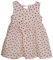 Kins N Cousins Baby Girls' Dress (White - Pink, 6-12 Months)