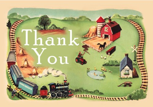 Dolce Mia Choo-Choo Farm Birthday Thank You Card Party Pack - 8 cards