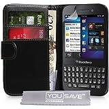 Blackberry Q5 Tasche Schwarz PU Leder Brieftasche Hülle