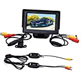 Mixca 4.3 Inch TFT LCD Monitor + Car Reverse Rearview Back Up Camera Parking Wireless Kits