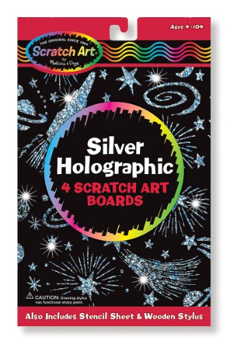 Silver Holographic: Scratch Art 4-Sheet Pack