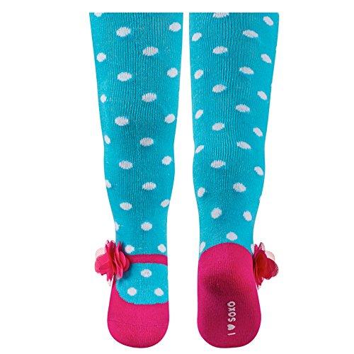 Sevira Kids-Collant, motivo: Ballerine, in diverse misure e colori Blu Turchese - pois 86 - 92 cm 18 - 24 mesi