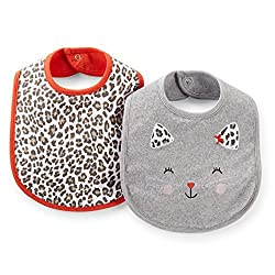 Carter's Baby Girls' 2-Pack Water Resistant Feeding Bibs (One Size, Spotted Cat)