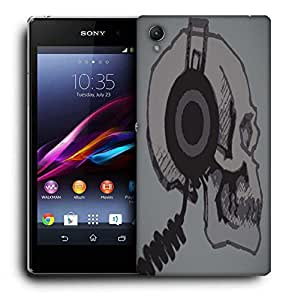 Snoogg Skull With Headphones Printed Protective Phone Back Case Cover For Sony Xperia Z3