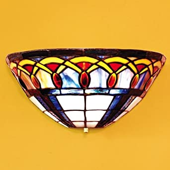 It s Exciting Lighting AMB1003 Ambience Wireless Wall Sconce, Half Moon Stained Glass - Tiffany ...
