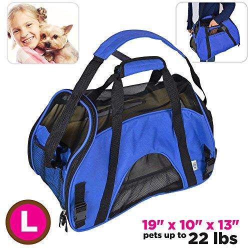 TravelDog Pet Carrier Mesh Ventilation – Soft Washable Fleece Bed – Cat or Dog Tote Travel Bag – Large (Blue)