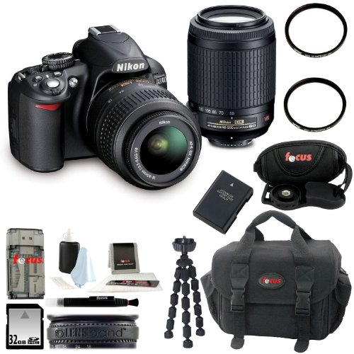 Nikon D3100 Digital Slr Camera Kit With 18-55Mm & 55-200Mm Vr Lenses + 32Gb Memory Card + All In One High Speed Card Reader + Extra Battery Pack + Accessory Kit