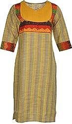 Artisan Women's Cotton Straight Kurta (CZF10017_M, M)