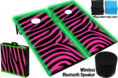 Cornhole Boards Bag Toss Game Set W/ Glow Lights & Bluetooth Speaker - Pink Zebra Graphic