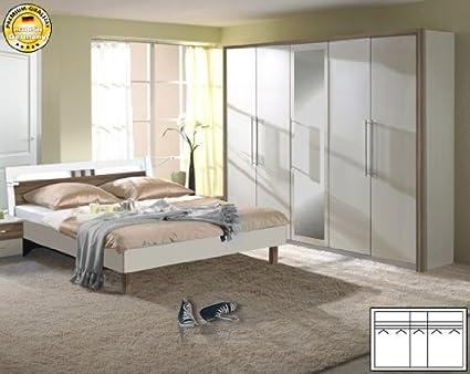 Schlafzimmer komplett 2-teilg 2023 Kleiderschrank 250cm weiß / nussbaum