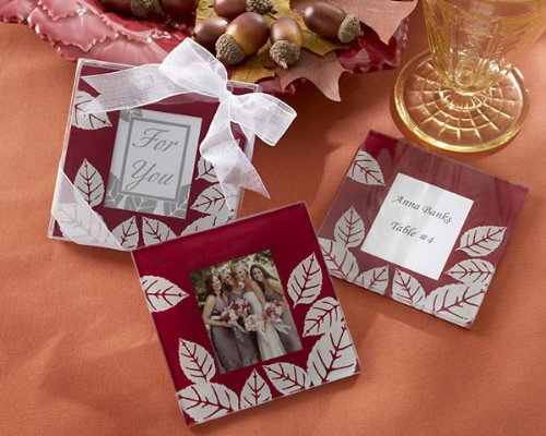 """Fall Impressions"" Glass Photo Coasters -Set of 2 - Baby Shower Gifts & Wedding Favors (Set of 24)"