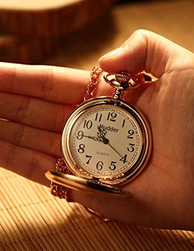 Mudder Classic Smooth Vintage Steel Pocket Watch For Men, Rose Golden 4