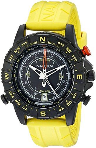 Nautica 46 mm, colore: giallo, da uomo, al quarzo, in acciaio, quadrante NAD21000G-Orologio analogico, colore: nero